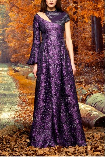 John Paul Ataker Purple Asymmetric Metallic Floral Jacquard Gown