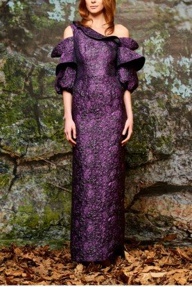 John Paul Ataker Purple Balloon Sleeve Floral Jacquard Column Dress