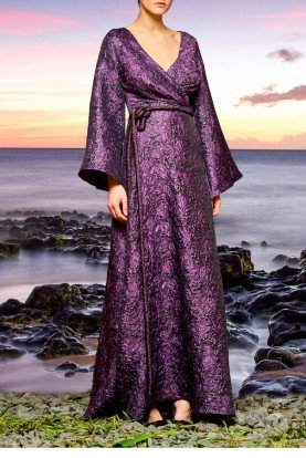 John Paul Ataker Purple Draped Floral Jacquard Long Dress