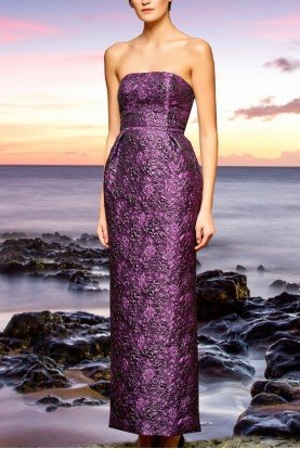John Paul Ataker Purple Floral Jacquard Boxy Long Dress