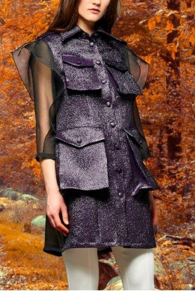 Organza and metallic crinkle jacquard jacket