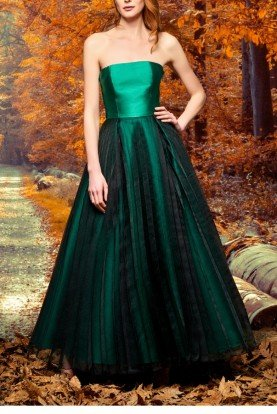 John Paul Ataker Dark Green Organza Pleat Layered Taffeta Dress