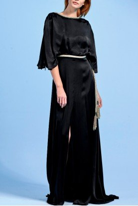 Black Viscose Dress with Metallic Cord Detail