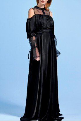 Organza Long Sleeve Empire Viscose Satin Dress