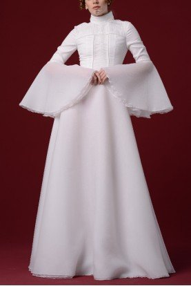 White Pleated Organdy Gown