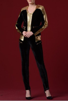 Black and Gold Velvet Leather Pocket Pants