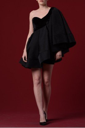 Short Black Stretch Dress with Organdy Pleats
