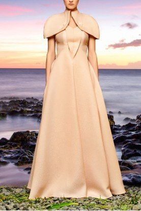 Salmon Cape Sleeve Jacquard Long Dress