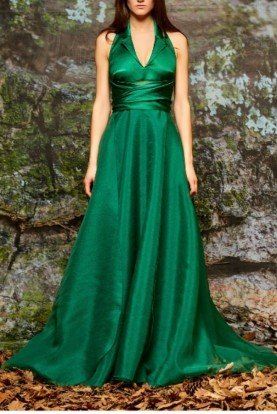 Green Stretch Viscose and Organza Gown