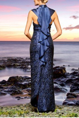 Navy Satin and Floral Jacquard Detail Dress