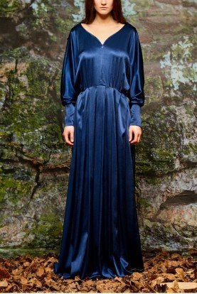 Long Navy Drape Stretch Satin Viscose Dress