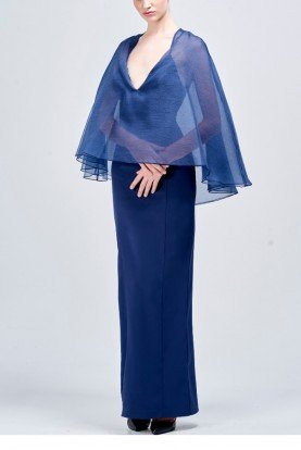 Long Navy Faille Dress with Organza Cape Detail