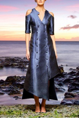 John Paul Ataker Navy Asymmetric Buttoned Metallic Dress