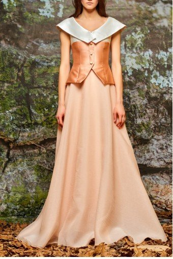 John Paul Ataker Two Tone Salmon and White Organza Gown