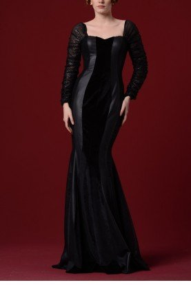 Black Velvet Leatherette Fishtail Gown