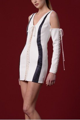 Short White Lace Up Double Faced Viscose Dress