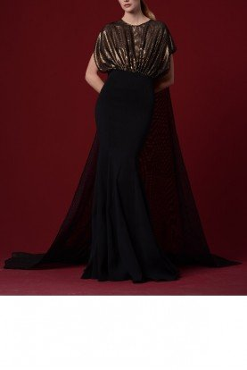Two Tone Foiled Sheer Mesh Cape Fishtail Gown