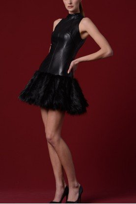 John Paul Ataker Black Faux Fur Stretch Leatherette Short Dress