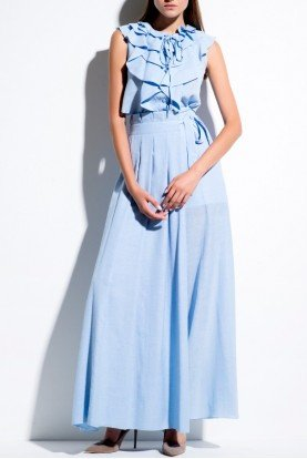 John Paul Ataker Light Blue Ruffled Sleeveless Viscose Dress
