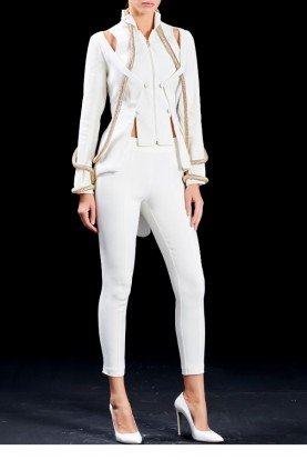 White Double Faced Viscose Pants