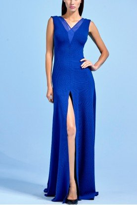Royal Blue Stretch Knit Jacquard Long Gown