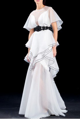 White Ruffled Organza Long Dress