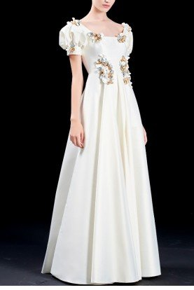 White Taffeta Long dress with 3D Flower Applique