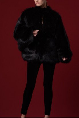 John Paul Ataker Black Faux Fur Long Sleeves Jacket