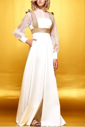 White Organza Dress with Gold Shoulder Band