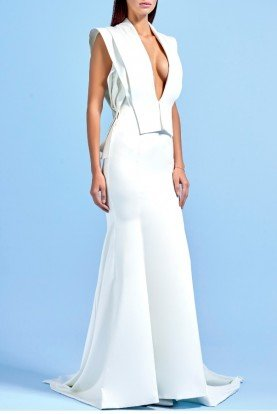 White Structured Faille Long Dress