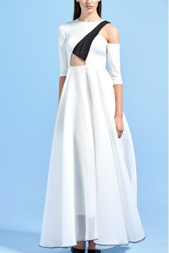 John Paul Ataker White Stretch Knit Jacquard Asymmetrical Dress