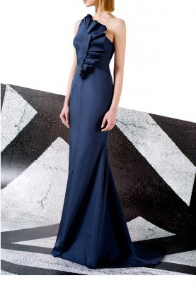John Paul Ataker Navy Strapless Stretch Ruffled Bodice Faille Gown