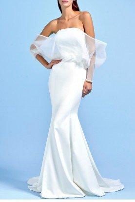 White Voluminous Organza Sleeve Long Dress