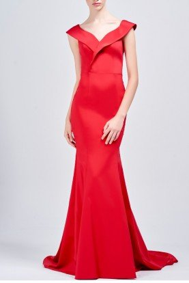 Red Structured Faille Long Dress