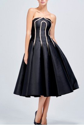 John Paul Ataker Black Taffeta Dress with Metallic Cord Detail