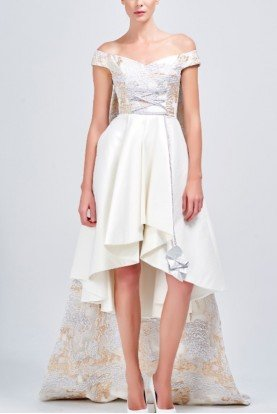White Off Shoulder Taffeta Embroidered Dress