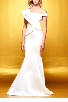 John Paul Ataker White Structured Sleeveless Mermaid Gown