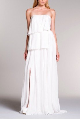 Layered Strapless White Viscose Dress