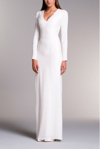 John Paul Ataker White V Neck Long Sleeved Stretch Jacquard Dress