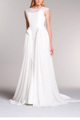 White Taffeta Viscose Gown with Sheer Mesh Train
