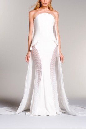 John Paul Ataker Strapless white dress with organza cut out