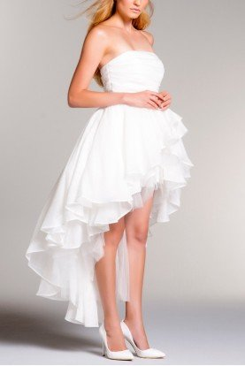 John Paul Ataker White Strapless Draped Layered Hi Low Dress