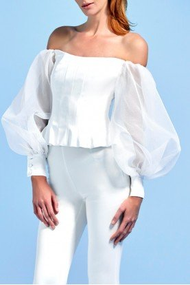 Voluminous Organza Sleeve Faille Bustier Top