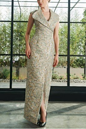 Side Slit Light Green Floral Jacquard Dress