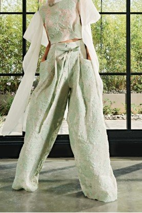 John Paul Ataker Light Green Fil-Coupe Floral Pants