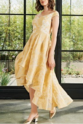 Yellow Sweetheart High Low Floral Jacquard Dress