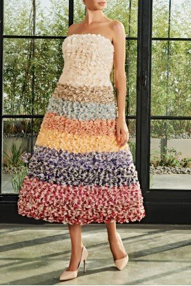 Strapless 3d Flower Midi Dress