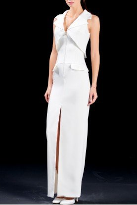 Structured faille long white dress