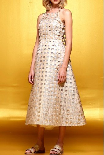 John Paul Ataker Metallic jacquard laser cut organza midi dress