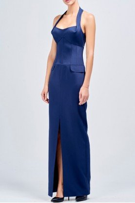 Structured faille long blue dress